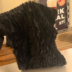 Black faux fur infinity scarf